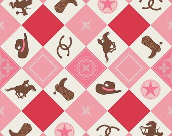Cowgirl Pink  Multi Main Print from Riley Blake's Cowgirl Collection by Samantha Walker