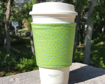 FREE SHIPPING UPGRADE with minimum -  Fabric coffee cozy / cup sleeve / coffee drink sleeve / Blue dots on green