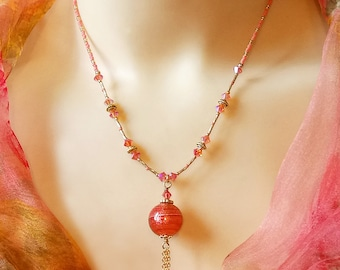 Collier pendentif Verre Murano authentique Rose Corail / Feuille d'Or  / Genuine Pink Coral Gold foil Murano pendant necklace