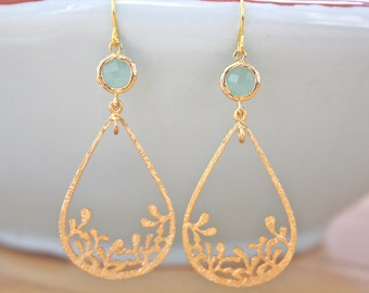 Gold Earrings, Dangle Earrings, Mint and Gold Earrings, Mint Wedding, Bridesmaid gifts, Bohemian Jewelry, Gifts for Her, Best Friend Gifts