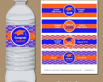 College Graduation Water Bottle Labels - Printable Graduation Party Favors - Graduation Party Decor Orange Royal Blue Grad Party Ideas G1
