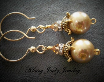 Pearl and Gold Filled Earrings-Freshwater Pearl Artisan Earrings-Artisan Lampwork and Pearl Earrings-Nautical Earrings-Ocean Earrings