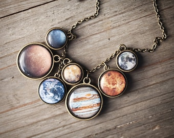 Solar System necklace, Statement necklace, Planet Necklace, Mothers day gift, Space jewelry, Celestial gift, Galaxy Necklace, Space necklace
