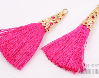 T003-02-G-HP// Gold Plated Cone Hot Pink 45mm Tassel Pendant, 4pcs