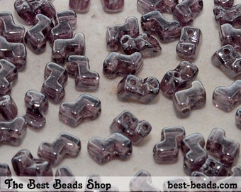 30pcs Lustered Amethyst Double Hole Zorro Beads 6x5mm