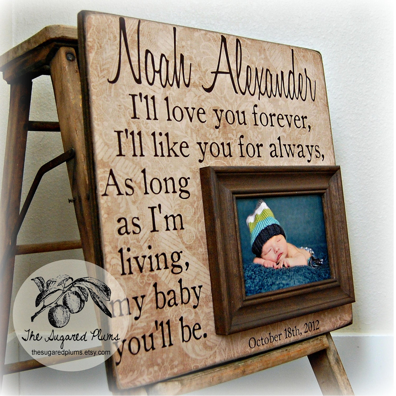 Baby Boy Frame Personalized 16x16 I\'ll LOVE YOU FOREVER Baptism ...