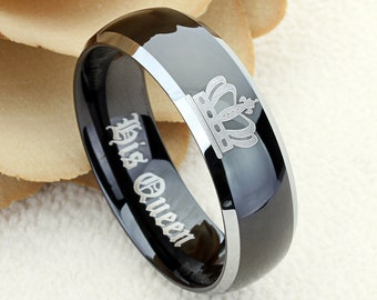 8mm Tungsten Wedding Band Crown Ring Inspiration Ring Personalized Ring Inspirational Jewelry Tungsten Promise Ring Free Inside Engraving
