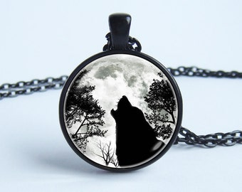 Wolf necklace Moon and wolf Moon pendant Black wolf necklace Wolf charm Pendant moon Black forest Howling wolf Photo pendant Wolf jewelry