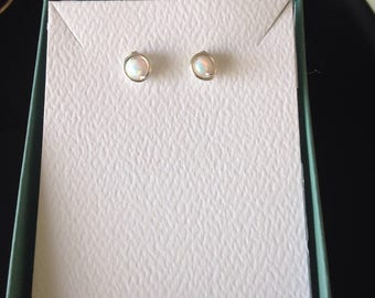 White Opal Studs, Argentium Sterling Silver Wire posts, rubber backs