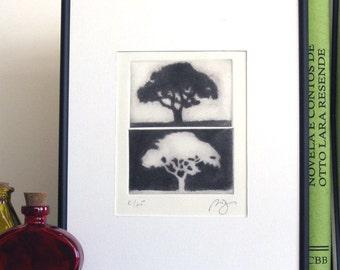 Original ACEO Mezzotint Print Tree Silhouette Landscape Wall Decor Etching Printmaking Art NIGHT & DAY Fine Art Print 2 Plates