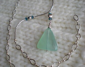 By The Sea beaded necklace, one of a kind, blue chalcedony, sterling silver, blue apatite by Grey Girl Designs on Etsy