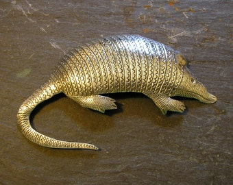 ARMADILLO Pin Brooch, Handmade, Tribal Stampwork, Original & FUN! item A8