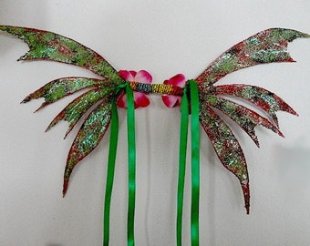 Fairy Wings-Iridescent-Green Forest Sprite-(Made to Order)