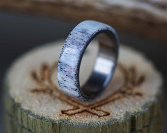 Elk Antler Camo Wedding Ring in Single Channel Staghead