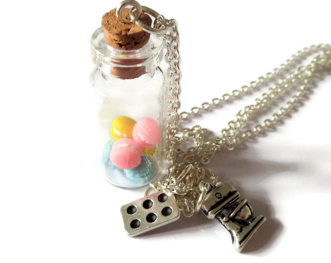 Glass bottle necklace containing mini fake food macaroons on a silver tone chain cake bakers bake off inspired fan gift jewellery Uk