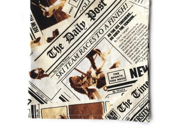 Newspaper Print Pocket Square, Handmade Pocket Square, Mens Pocket Square, Patterned Pocket Square, Cotton Pocket Square