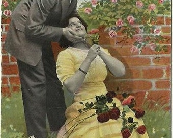 I'd like to read the lovelight in your eyes Cheeky Old Fashioned Victorian Couple Red and Pink Rose by Garden Wall Vintage Postcard