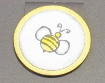 Magnetic Book Mark - Hand Stamped - Bumble Bee