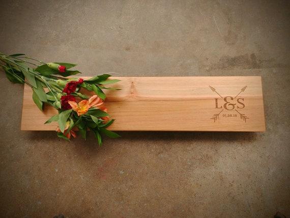 22x5 Maple Charcuterie Personalized Cutting Board Euro Edge w/Feet & Wood Butter - Arrow Design - Wedding Cupid Board - Cheese Board