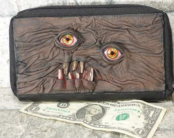 Wallet Woman Clutch With Zombie Horror Face Double Zippered Organizer Brown Black Leather 246