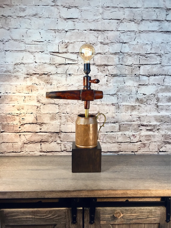 Rustic Table Lamp Vintage Keg Tap