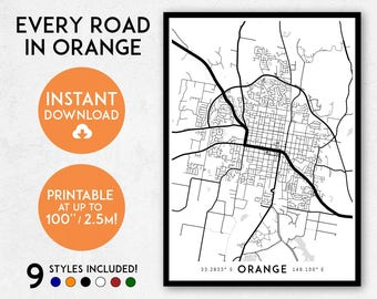 Orange map print, Printable Orange map art, Orange print, Orange art, Orange poster, Orange wall art, Orange gift, NSW map, Australia map