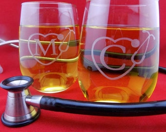 Personalized  Set of Two(2)!! Engraved Nursing 15Oz Stemless Wine Glass. Thank your Nurse