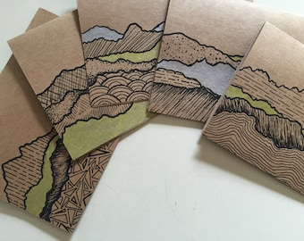 Terra- Set of 5 Blank Notecards