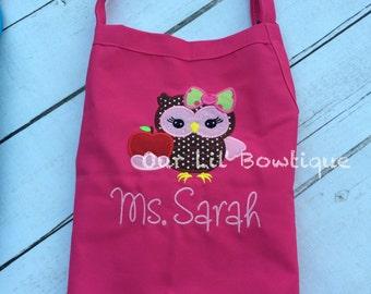 Owl Personalized Birthday Apron - Personalized Apron - Personalized Owl - Girl - Boy - Toddler - Teacher Apron