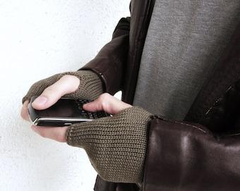 Knit Mens Mittens,  Fingerless Gloves for him, cuffs virgin Wool,  Mens Armwarmers Wristwarmers Trend-Accessories For Him