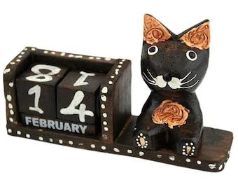 Handmade Wooden Cat Trinket Figure Calendar