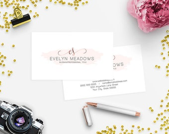 Business Card Designs - 2 Sided Printable Business Card Design - Watercolor 103-17