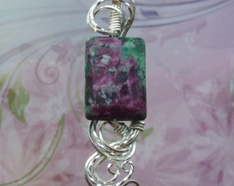 Magenta and Emerald Green Zoisite Womans Pendant Necklace Wire Wrapped Jewelry Handmade in Silver