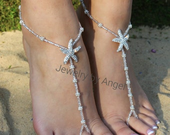 Beach Wedding Beach Wedding Barefoot Sandals Crystal Bridal Jewelry Starfish Foot Jewelry Beach Wedding Shoe Beach Wedding Jewelry