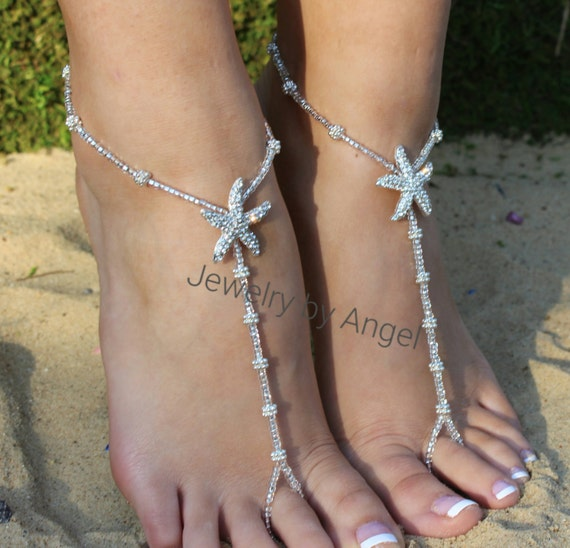 Beach Wedding Beach Wedding Barefoot Sandals Crystal Bridal