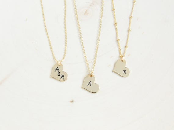 Dainty Heart Initial Necklace | Gold Letter Necklace | Bridesmaid Gift Ideas | Tiny Initial Necklace | Dainty Heart Necklace | Gift Idea