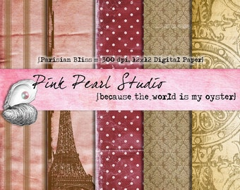 Parisian Bliss Digital Printable Paper Pack...Scrapbooking, Crafts and Cardmaking