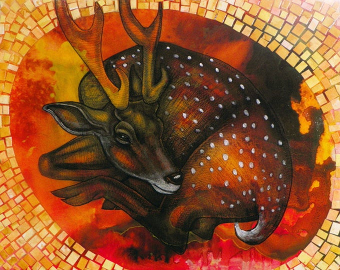 "Original ""Young Deer at Rest"" Mixed Media Artwork by Lynnette Shelley"