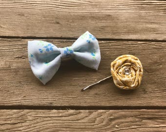 Mini Vintage Floral Blue Bow and Honey Yellow Twirl Hair Pin