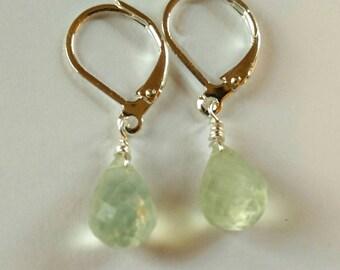 Prehnite briolette drop earrings