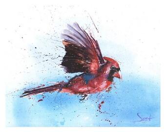 WATERCOLOR CARDINAL PAINTING - original bird painting, bird wall art, original bird art, bird lover gift, cardinal decor, cardinal artwork
