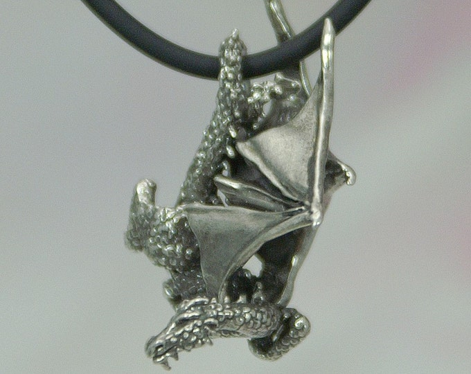 Diving Dragon Pendant in Sterling Silver