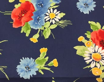 Floral Fabric, Navy Floral Fabric, Bright Floral Fabric, Spring Fabric, Cotton Fabric