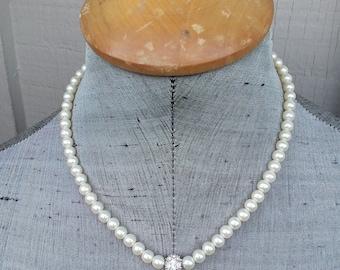 Dainty Ivory Off White Glass Pearl Rhinestone Crystal Ball Bead Choker Necklace Classic Wedding Bride Bridal Minimalist Jewelry Jewellery