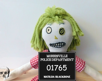 "Rockabilly Zombie Art Doll Matilda Blackbone. Collectors Doll 15"""