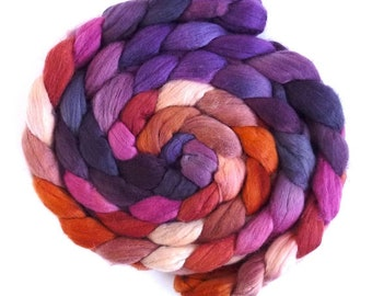 Finn Wool Hand Spinning Roving, Hand Dyed, Earthly Decadence