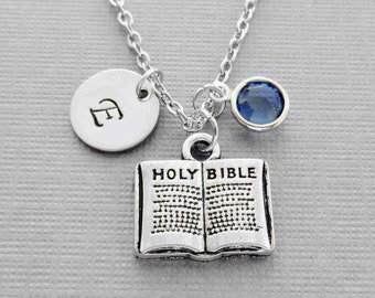 Bible Necklace, Holy Bible, Christian Gift, Religious Jewelry, Swarovski Birthstone, Silver Initial, Personalized Monogram, Hand Stamped