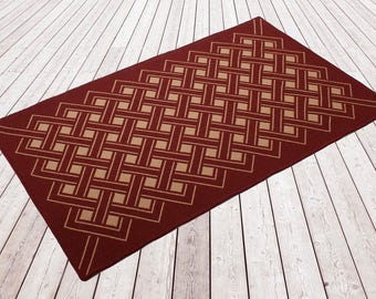 Woollen flat weave rug, Woven and backed. Designer rug, flooring, wool, Maron red/ Beige, red, block lines, hand finished, home & living