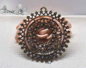 Set of 4 QZW095 pendants, bronze, flowers