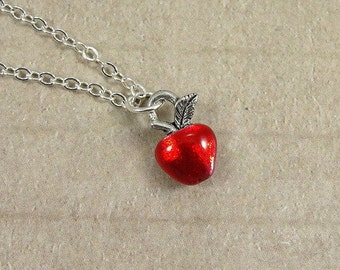 Tiny Red Apple Necklace, Silver Plated Red Apple Charm on a Silver Cable Chain